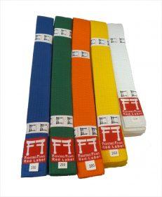 Fighting Films judobanden in de kleuren wit, geel, oranje, groen en blauw