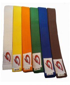 Gill Sports judoband in de kleuren wit, geel, oranje, groen, blauw, bruin en rood