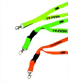 Lion Keycord I love judo oranje, groen en limoengeel